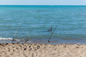 Fishing rods on the beach