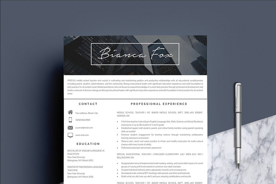 3 Pages Resume Template - Resume Templates | Creative Market Pro