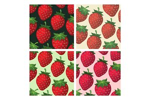 Strawberry seamless pattern set