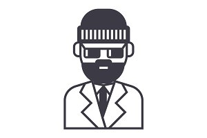 beard man in suite vector line icon, sign, illustration on background, editable strokes