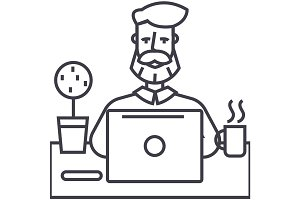 beard man working on table with notebook vector line icon, sign, illustration on background, editable strokes