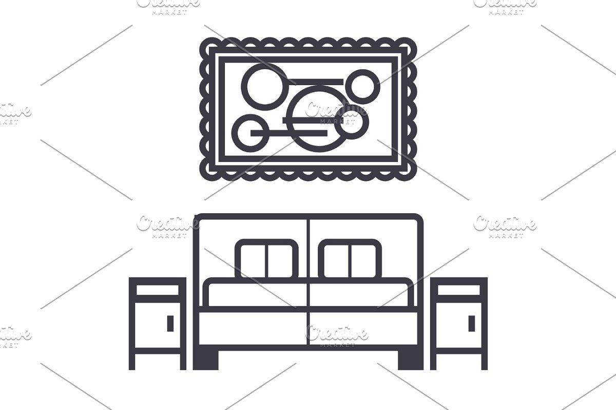 Bedroom Vector Line Icon Sign Illustration On Background Editable