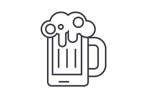 beer illustration vector line icon, sign, illustration on background, editable strokes