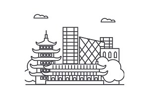 beijing, china vector line icon, sign, illustration on background, editable strokes