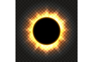 Total solar eclipse icon on transparent