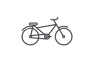 bicycle vector line icon, sign, illustration on background, editable strokes