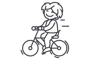 bicycle, riding boy vector line icon, sign, illustration on background, editable strokes