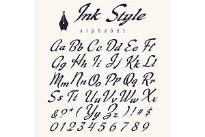 Ink style alphabet, retro script letters
