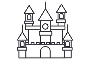 big castle,germany vector line icon, sign, illustration on background, editable strokes