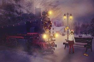 Digital Backdrop Polar Express Train