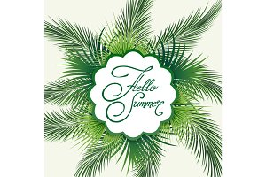 Palm leaves hello summer emblem