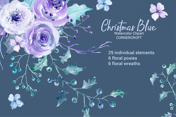 Christmas Blue Watercolor Clipart