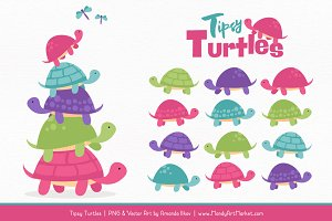 Crayon Box Girl Turtle Stack Clipart