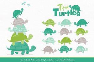 Emerald Isle Turtle Stack Clipart
