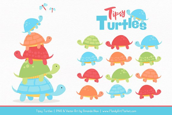 Fresh Boy Turtle Stack Clipart