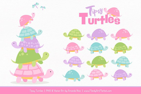 Fresh Girl Turtle Stack Clipart