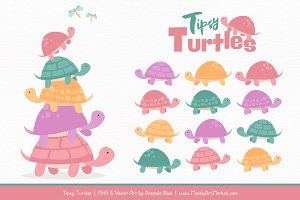 Garden Party Turtle Stack Clipart