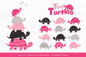 Hot Pink Turtle Stack Clipart