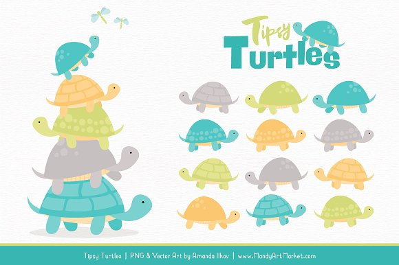 Land & Sea Turtle Stack Clipart in Illustrations