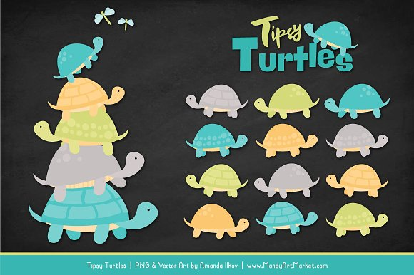 Land & Sea Turtle Stack Clipart in Illustrations - product preview 1