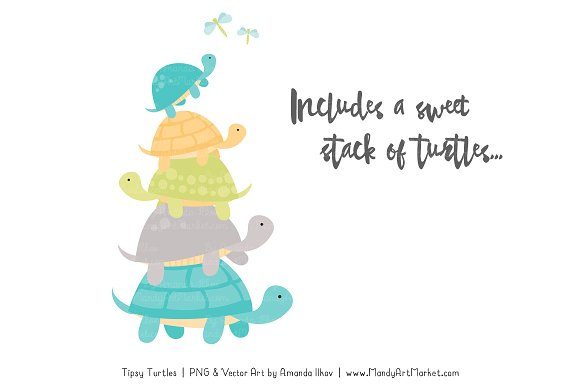 Land & Sea Turtle Stack Clipart in Illustrations - product preview 2
