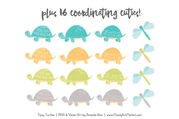 Land & Sea Turtle Stack Clipart in Illustrations - product preview 3