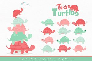 Mint & Coral Turtle Stack Clipart