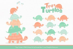Mint & Peach Turtle Stack Clipart
