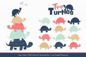 Modern Chic Turtle Stack Clipart