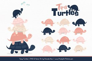 Navy & Blush Turtle Stack Clipart
