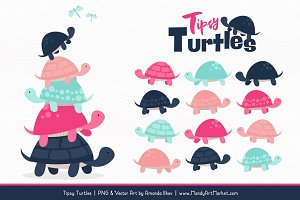 Navy & Hot Pink Turtle Stack Clipart