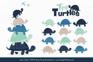 Navy & Mint Turtle Stack Clipart