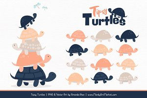 Navy & Peach Turtle Stack Clipart
