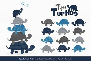 Navy & Pewter Turtle Stack Clipart
