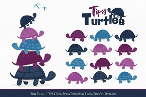 Navy & Plum Turtle Stack Clipart
