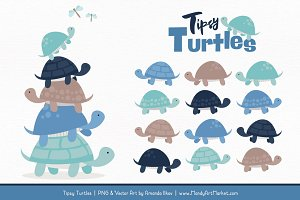 Oceana Turtle Stack Clipart