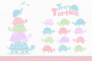 Pastel Turtle Stack Clipart