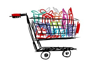 Shopping cart with gift box and bag