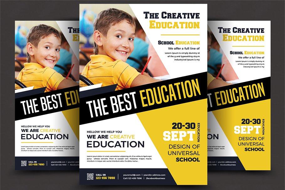 School Education Flyer Templates Flyer Templates Creative Market Pro