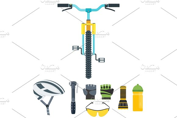 bicycle equipment icons