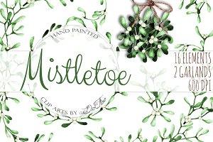 Mistletoe Watercolor Clip Art