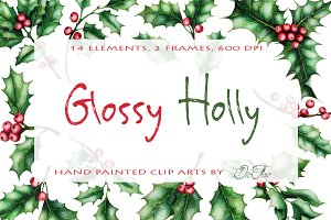 Holly Watercolor Clip Art