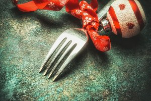 Fork with Christmas decoration