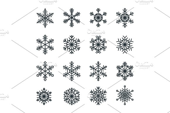 snowflakes icons set in Icons