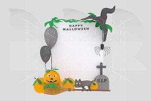 White  Halloween placard