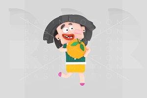 Girl running holding a pimpkin
