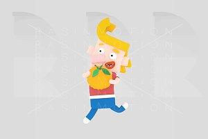 Blonde boy holding a pimpkin