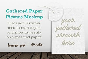 Gathered Paper Picture Mockup
