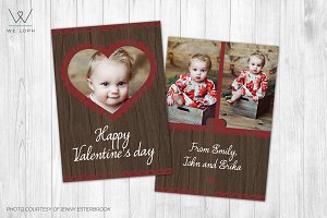 Valentines Day Card Template - Wood