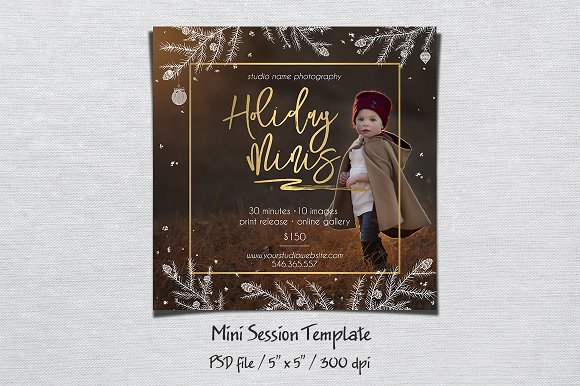 holiday mini session template flyer templates creative market